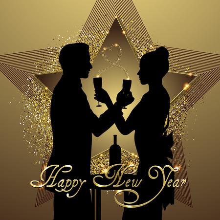Romantisch paar silhouet delen glas champagne vector illustratie Stock Illustratie