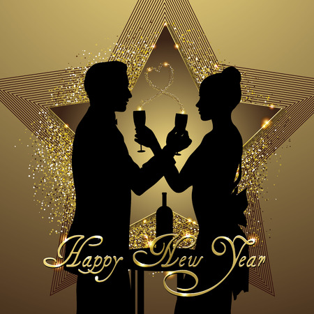 Romantic couple silhouette sharing glass of champagne vector illustration
