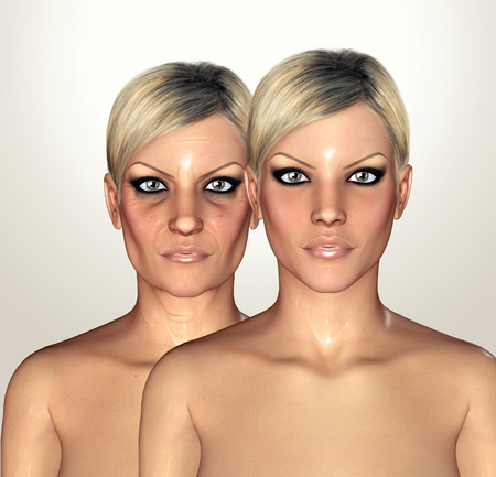 tightening: 3d illustrations of female figures showing aging concept