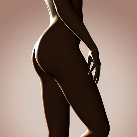 nude: 3d rendered illustration of a beautiful female legs
