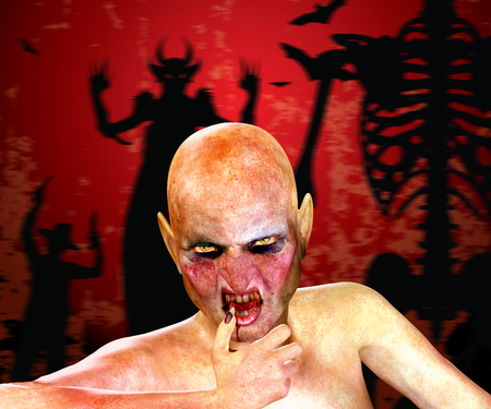 cruel: Halloween background with 3d rendered monster