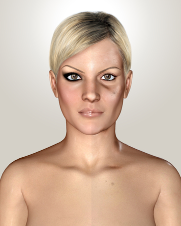 wrinkled face: 3d illustration of a same healthly and damaged skin Stock Photo
