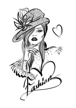 Beautiful woman line art illustration with accessories Imagens - 66591106