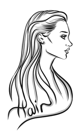 woman hair: Beautiful woman silhouette with long hair vector illustration