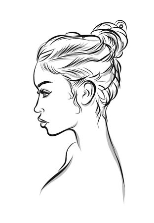 make up model: Beautiful woman line art illustration