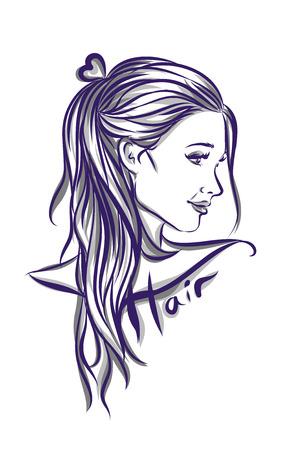 capelli lunghi: Bella donna con i capelli lunghi illustrazione isolato