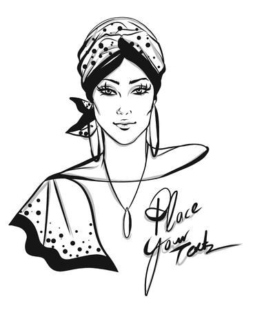 Stylish woman with turban illustration isolated on white background Illustration