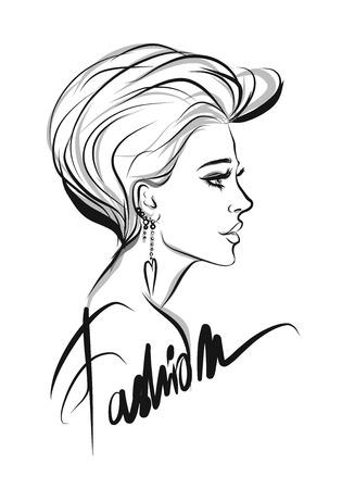 Beautiful woman line art illustration