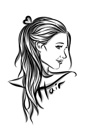 commercial sign: Beautiful woman with long hair illustration isolated