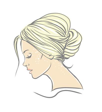 Mujer hermosa con la ilustración de pelo largo aislado