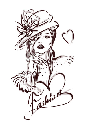 Beautiful woman line art illustration with accessories Ilustração