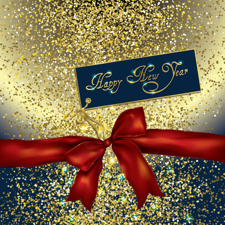 glittery: red bow and new year greeting card on a gold glittery background Stock Photo