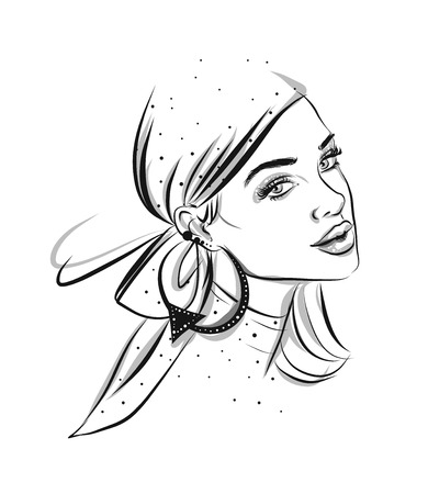 Beautiful line art woman illustration