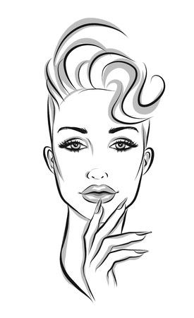 nails: Beautiful line art woman illustration
