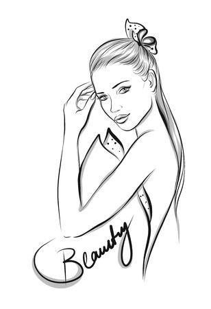 Belle ligne art illustration femme