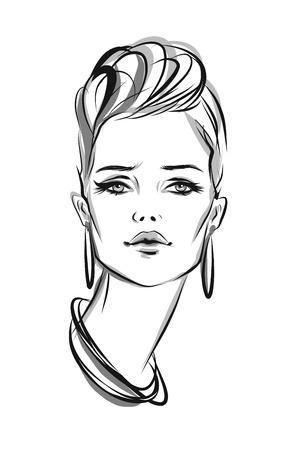 artistic: Beautiful line art woman illustration