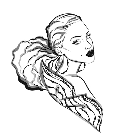 woman art: Beautiful line art woman illustration