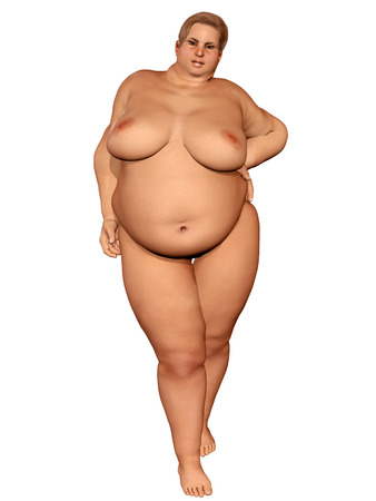 3d illustration of a naked overweight woman Stock Photo