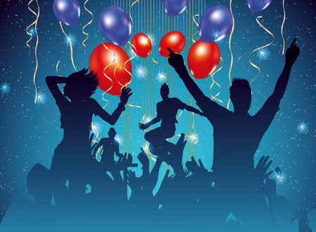 clubber: party background with dancing people silhouette