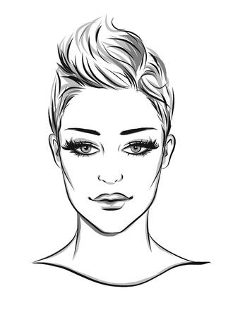 fashion portrait: fashion portrait lineart illustration Illustration