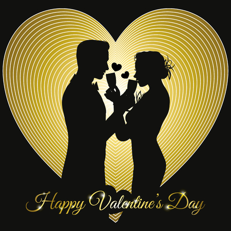 valentines day background with a couple silhouette sharing glass of champagne Illustration