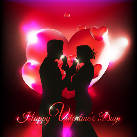 Valentines Day background with 3d hearts and couple silhouette celebrating love Illustration