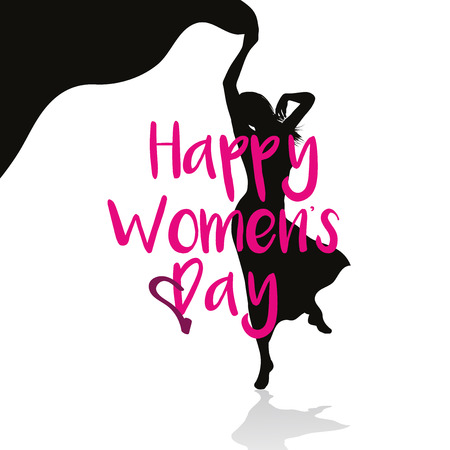 donna che balla: Background with dancing woman silhouette for womens day