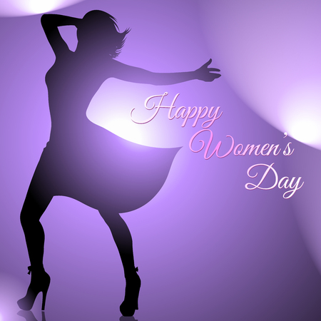 Background with dancing woman silhouette for womens day