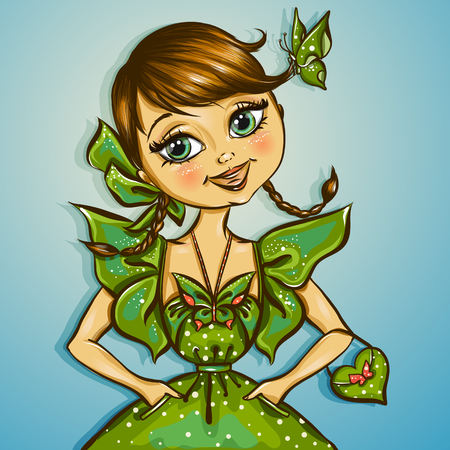 pretty eyes: pretty spring girl with fly vector illustration