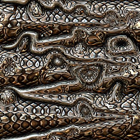 Decoratieve 3D naadloze metalen achtergrond