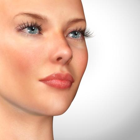 long nose: 3d illustration of a woman beauty portrait