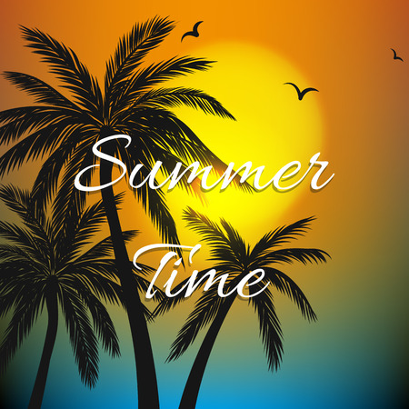 themed: Summer themed background with palm trees Illustration