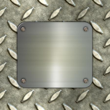 silver: 3D render of a brushed metal sign on metal background