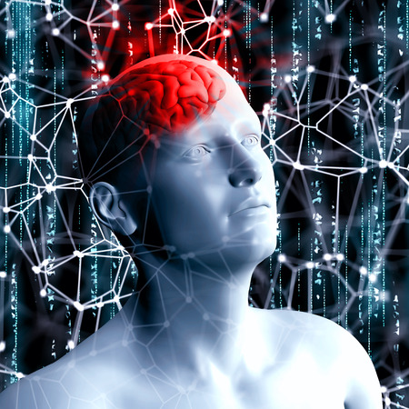 low energy: 3D render of a science and technology background with man head Stock Photo