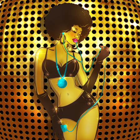 Beautiful afro american woman with headphones on golden background Ilustracja