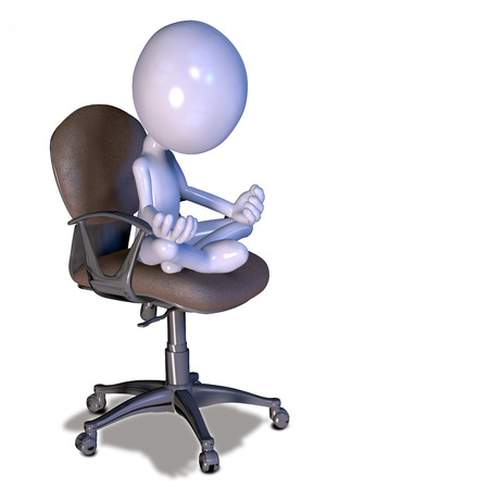 3d relaxed figure sitting and meditating on office chair