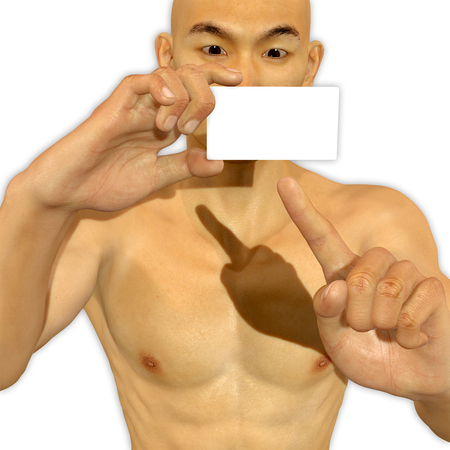 3d Asian man holding a blank card looking excited