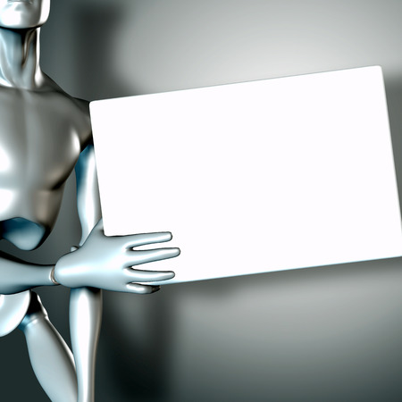 comerce: 3d illustration of a robot holding blank sign