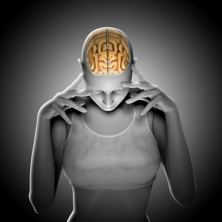 3D render of a female figure thinking with highlighted brain