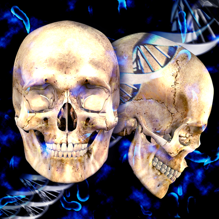 virus bacteria: 3d dna medical background with skulls and virus cells