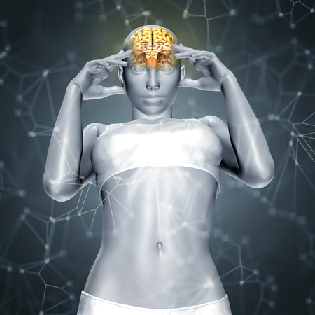 3D render of a female figure with brain  with connecting dots and lines Stock Photo