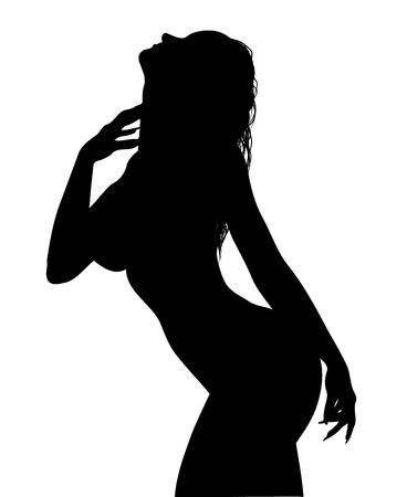 female silhouette isolated on white