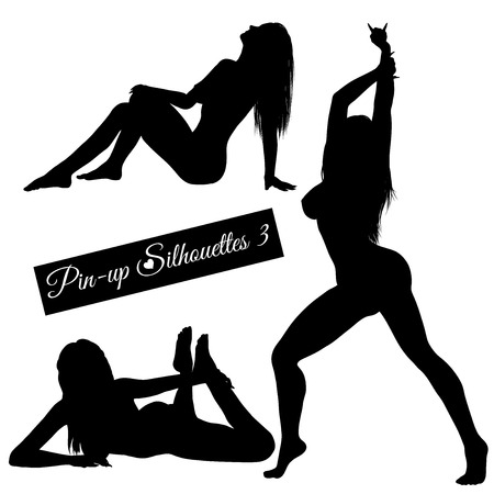Pin-up silhouettes set isolated on white Illustration