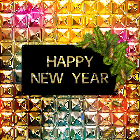 Decorative happy new year background with fir and colorful abstract