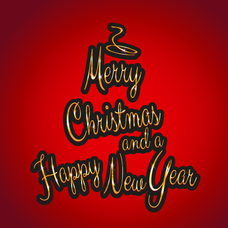 Christmas and new year background with tree shaped golden text