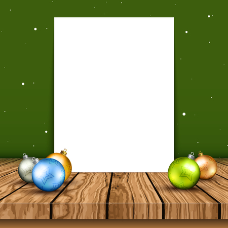 Blank canvas on a wooden table with Christmas baubles