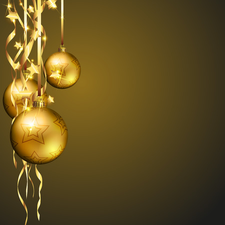 Christmas decoration with glowing design background and a golden baubles Illustration