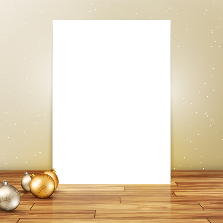Blank canvas on a wooden floor with Christmas baubles Illustration