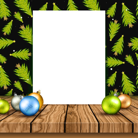 Blank canvas on a wooden table with Christmas baubles and fir trees on the wall background Illustration