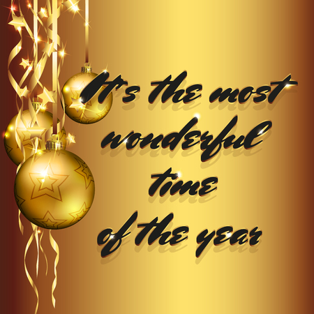 Christmas decorations with hand lettering text background and golden baubles Illusztráció